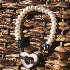 Beautiful Brighton pearl necklace with pink heart